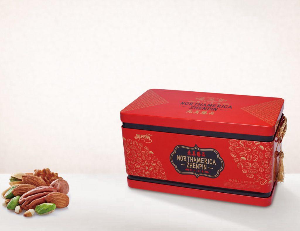 美荻斯进口坚果2023g礼盒装 混合干果开心果 北美臻品铁盒郑州春节礼品团购